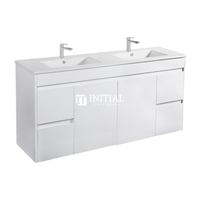 Gloss White PVC Wall Hung Vanity with 2 Doors and 4 Drawers Double Bowls 1490W X 500H X 455D