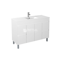Gloss White PVC Freestanding Floor Vanity with 2 Doors and 4 Drawers Single Bowl 1490W X 850H X 455D