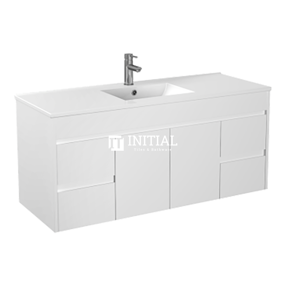 Gloss White PVC Wall Hung Vanity with 2 Doors and 4 Drawers Single Bowl 1490W X 500H X 455D