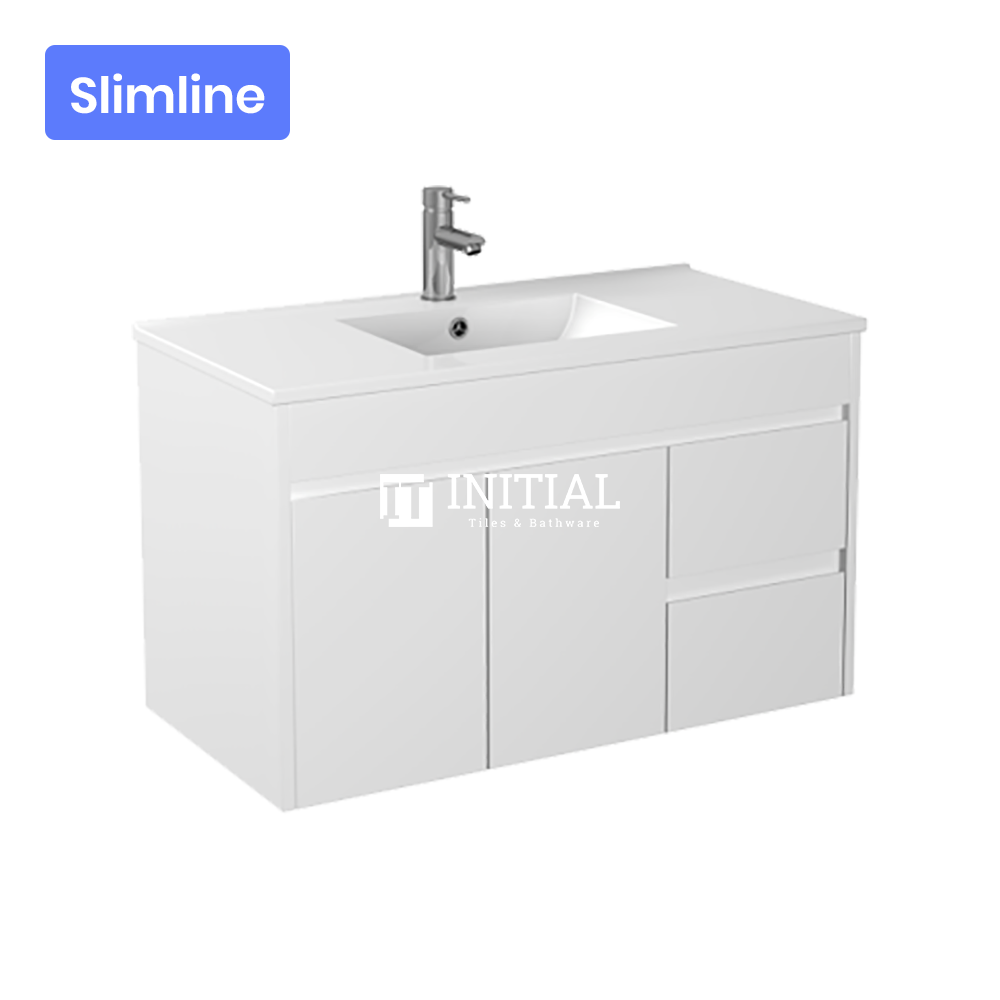 Gloss White PVC Slim Wall Hung Vanity with 2 Doors and 2 Drawers Right Side 890W X 500H X 355D
