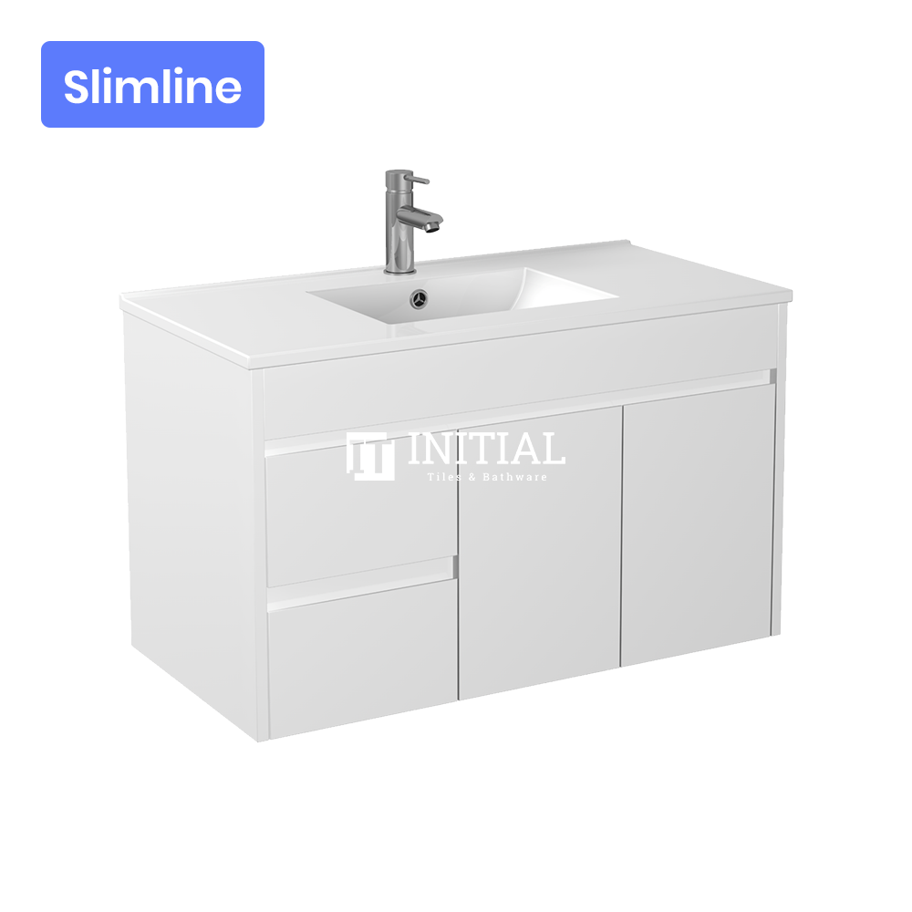 Gloss White PVC Slim Wall Hung Vanity with 2 Doors and 2 Drawers Left Side 890W X 500H X 355D