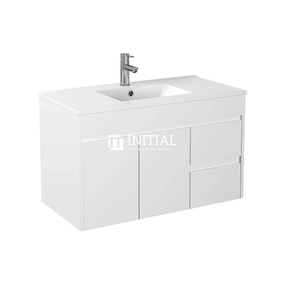 Gloss White PVC Wall Hung Vanity with 2 Doors and 2 Drawers Right Side 890W X 500H X 455D