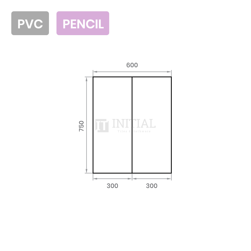 Gloss White PVC Pencil Edge Mirrors Shaving Cabinet with 2 Doors 600X155X750
