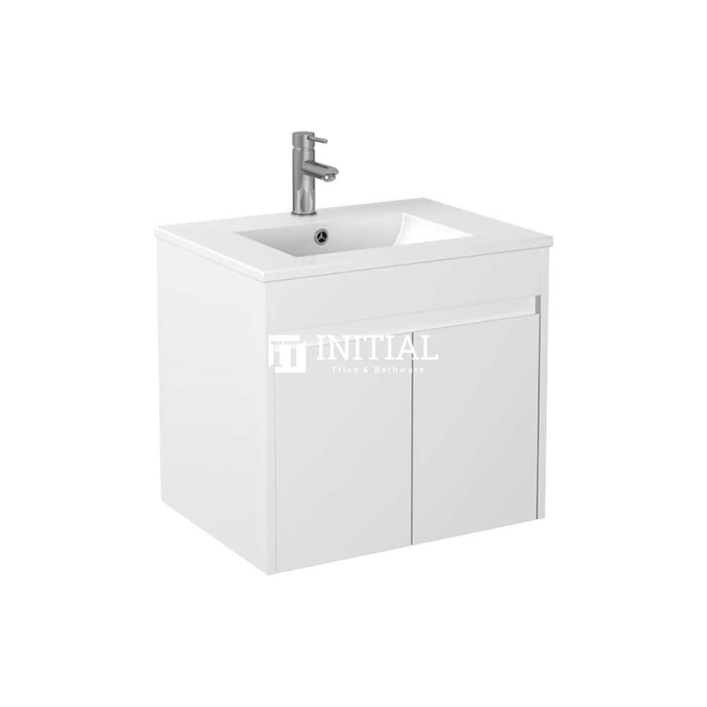 Gloss White PVC Wall Hung Floor Vanity with 2 Doors 590W X 500H X 455D