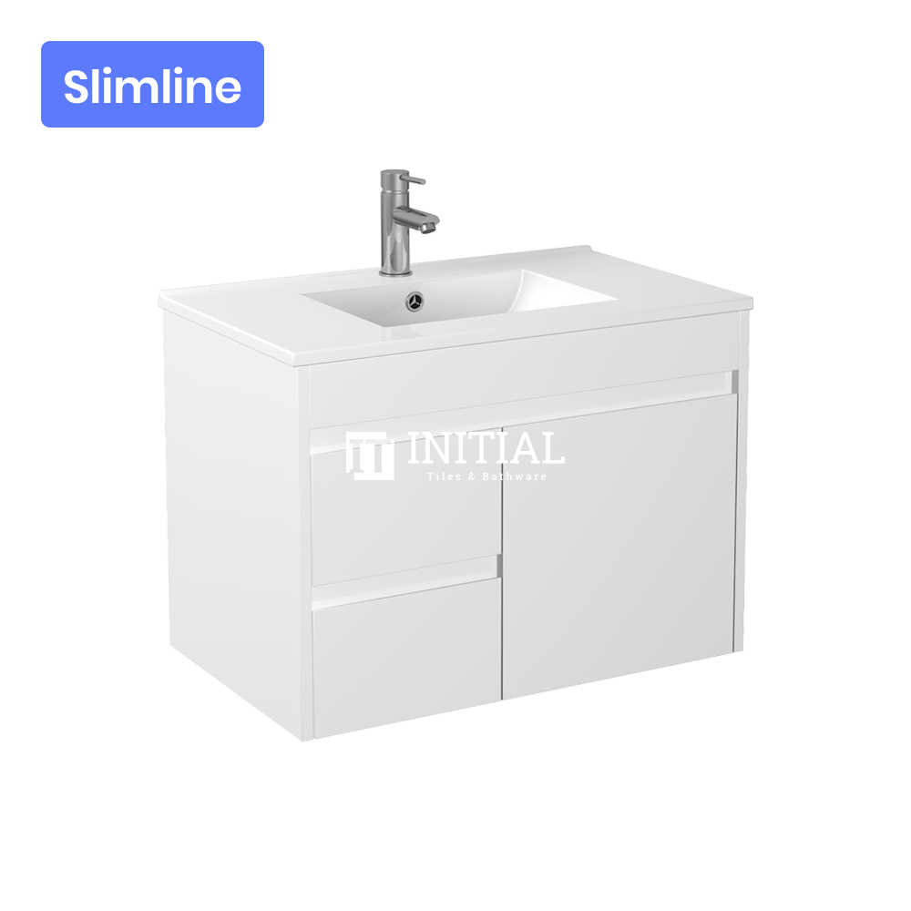 Gloss White PVC Slim Wall Hung Vanity with 1 Door and 2 Drawers Left Side 740W X 500H X 355D