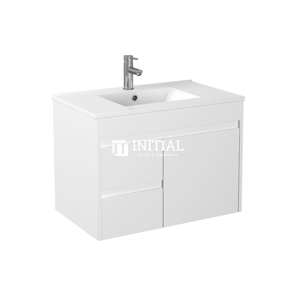 Gloss White PVC Wall Hung Vanity with 1 Door and 2 Drawers Left Side 740W X 500H X 455D