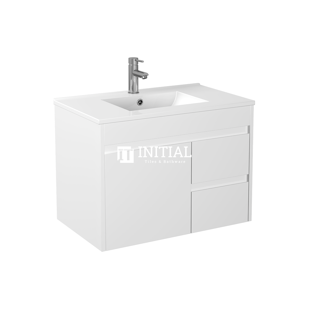 Gloss White PVC Wall Hung Vanity with 1 Door and 2 Drawers Right Side 740W X 500H X 455D