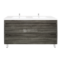 Qubix Wood Grain PVC Filmed Freestanding Floor Vanity With 4 Drawers Double Bowls Dark Grey 1490W X 850H X 450D