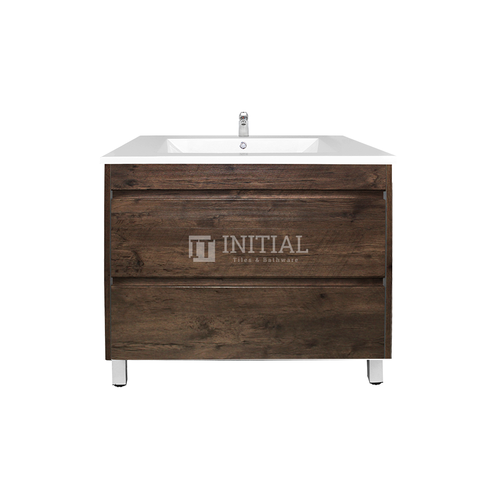 Qubix Wood Grain PVC Filmed Freestanding Floor Vanity With 2 Drawers Dark Oak 740X450X830