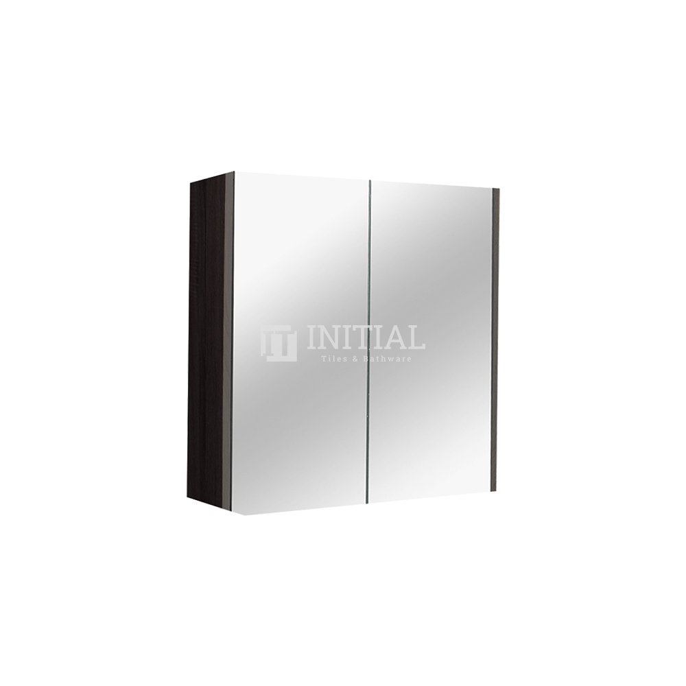 Qubix Wood Grain PVC Filmed Mirrors Shaving Cabinet with 2 Doors Dark Grey 750X150X720