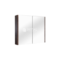 Qubix Wood Grain PVC Filmed Mirrors Shaving Cabinet with 2 Doors Dark Oak 750X150X720