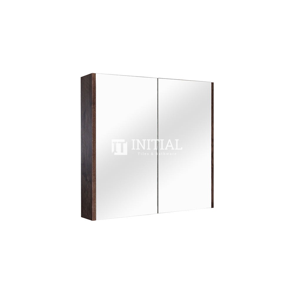 Qubix Wood Grain PVC Filmed Mirrors Shaving Cabinet with 2 Doors Dark Oak 600X150X720