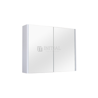 Qubix PVC Filmed Mirrors Shaving Cabinet with 2 Doors Matt White 900X150X720