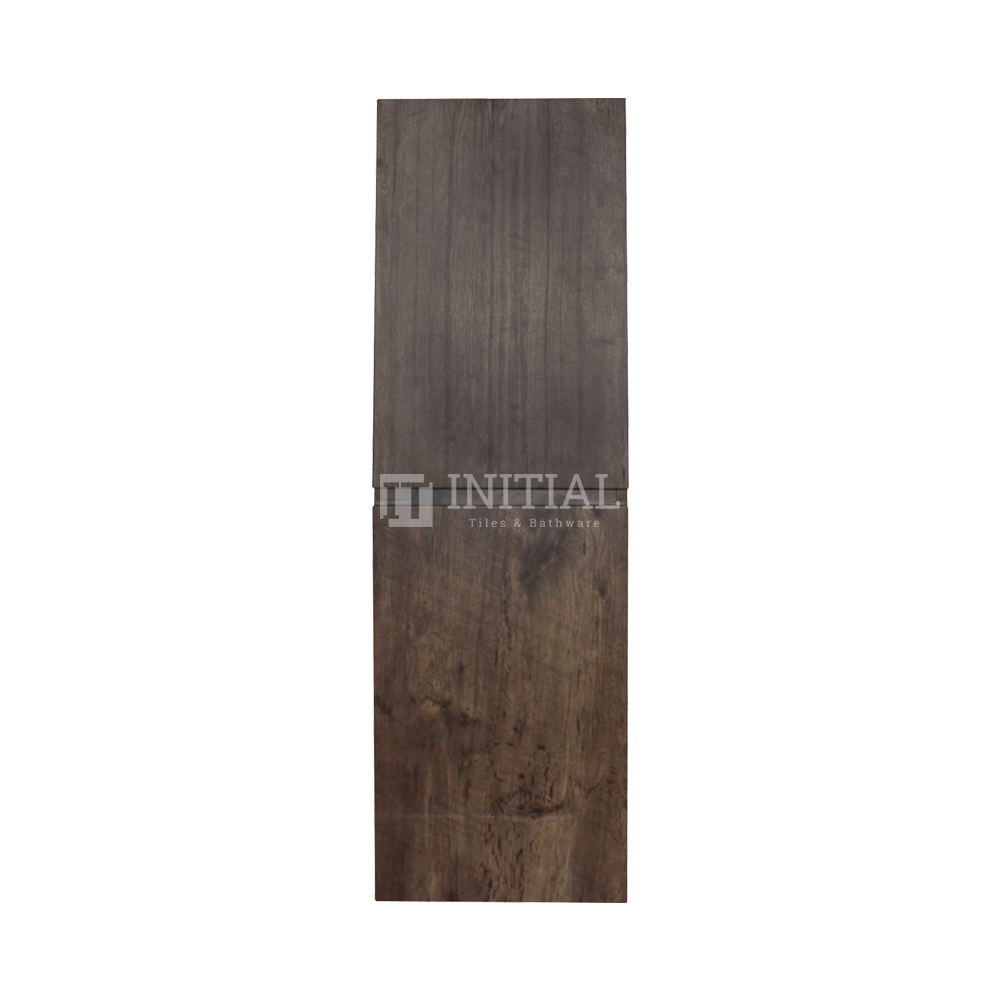 Qubix Wood Grain PVC Filmed Wall Hung Tall Boy With 2 Doors Dark Oak 400W X 1350H X 300D