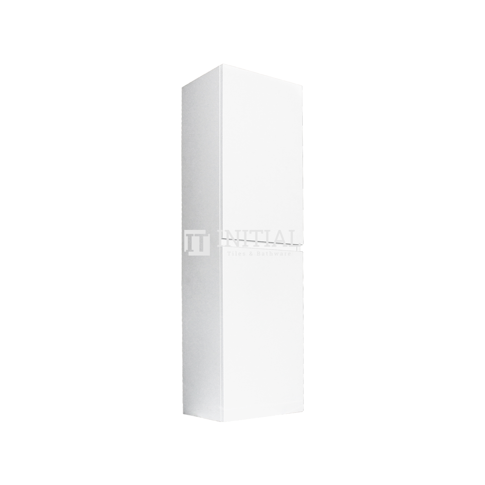 Qubix Wood Grain PVC Filmed Wall Hung Tall Boy With 2 Doors Matt White 400W X 1350H X 300D
