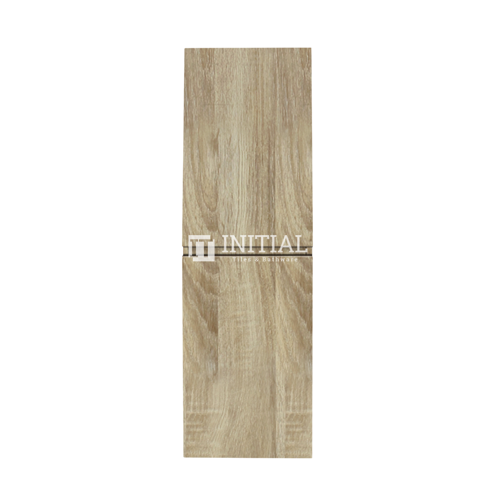 Qubix Wood Grain PVC Filmed Wall Hung Tall Boy With 2 Doors White Oak 400W X 1350H X 300D