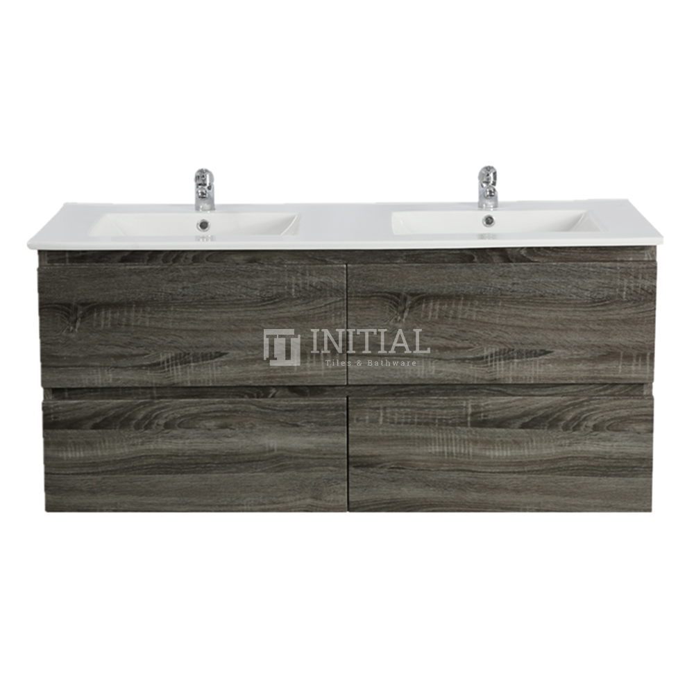 Qubix Wood Grain PVC Filmed Wall Hung Vanity With 4 Drawers Double Bowls Dark Grey 1190X450X550