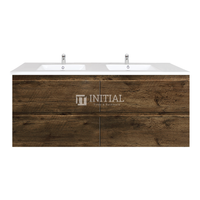 Qubix Wood Grain PVC Filmed Wall Hung Vanity With 4 Drawers Double Bowls Dark Oak 1540X450X550