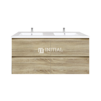 Qubix Wood Grain PVC Filmed Wall Hung Vanity With 4 Drawers Double Bowls White Oak 1190W X 550H X 450D