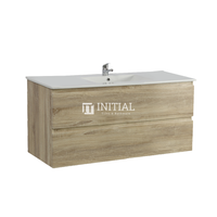 Qubix Wood Grain PVC Filmed Wall Hung Vanity With 2 Drawers White Oak 1190W X 550H X 450D