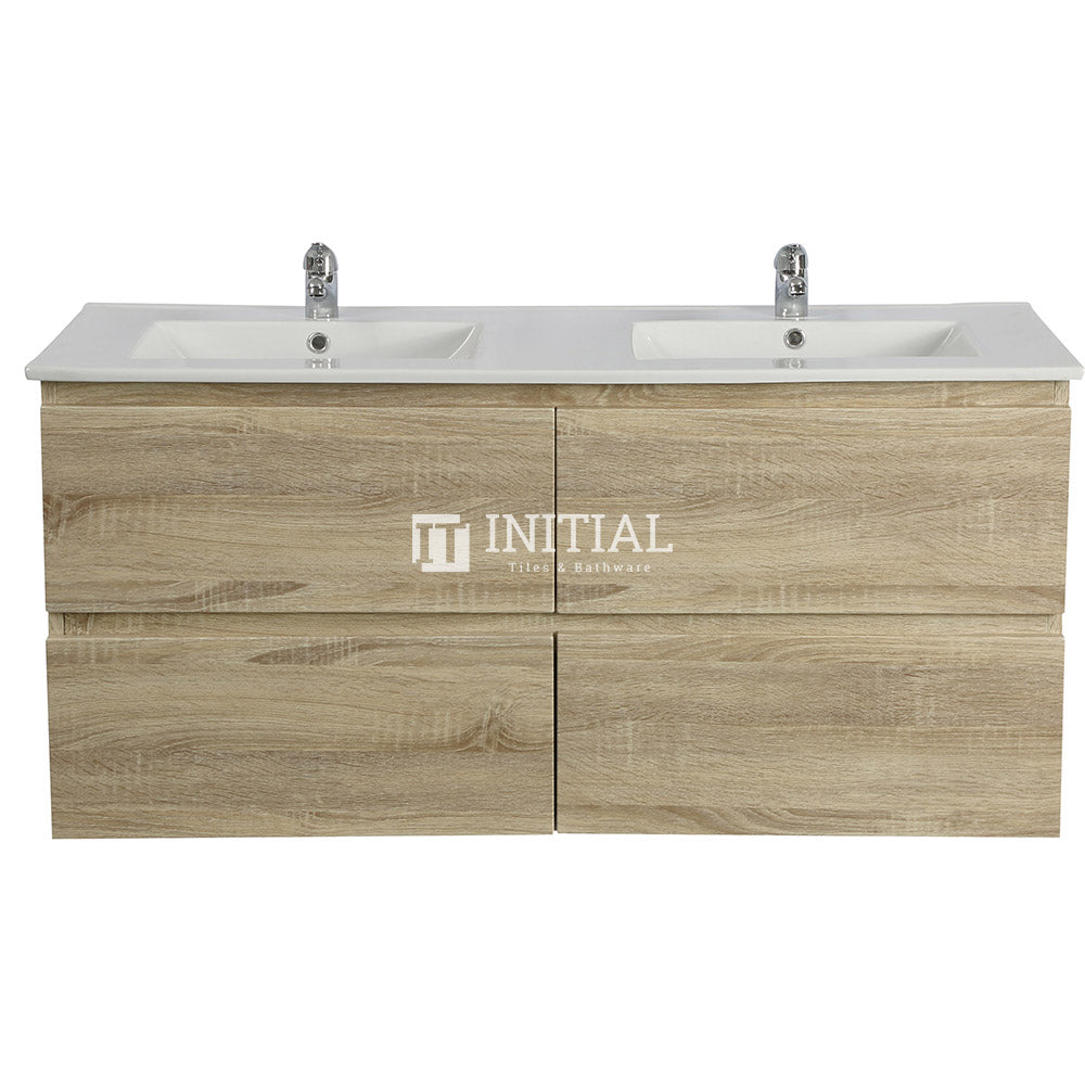 Qubix Wood Grain PVC Filmed Wall Hung Vanity With 4 Drawers Double Bowls White Oak 1490W X 550H X 450D
