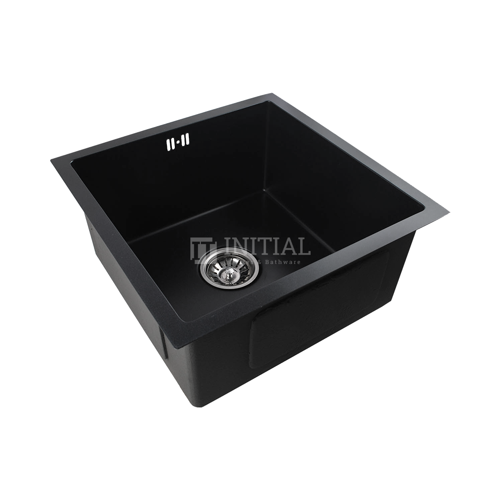 Square Granite Hand Made Stainless Steel Kitchen Sink Matt Black 440X440X205