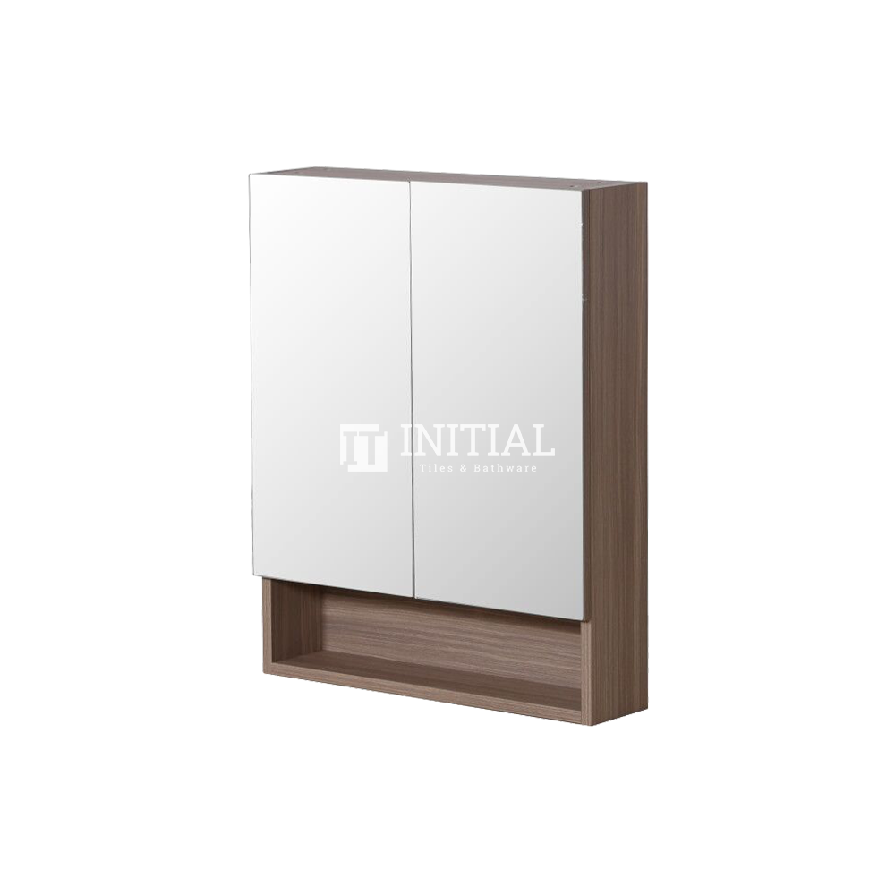 Style Wood Grain PVC Mirrors Shaving Cabinet With 2 Doors Oak 600X150X750