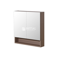 Style Wood Grain PVC Mirrors Shaving Cabinet With 2 Doors Oak 750X150X750