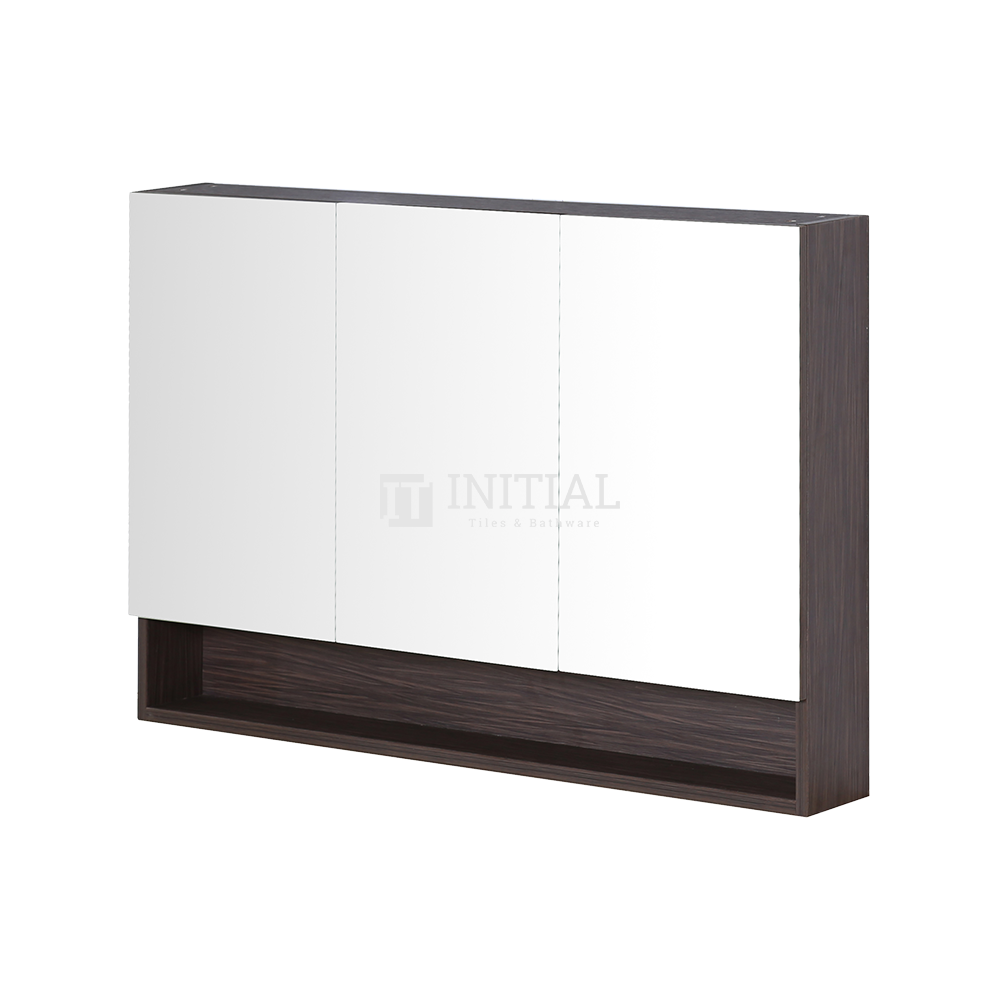 Style Wood Grain PVC Mirrors Shaving Cabinet With 3 Doors Walnut 1200X150X750
