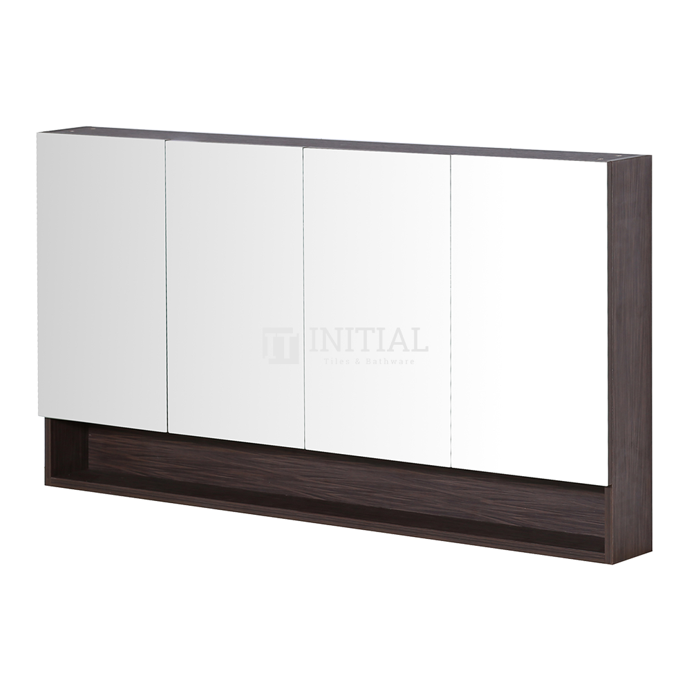 Style Wood Grain PVC Mirrors Shaving Cabinet With 4 Doors Walnut 1500X150X750
