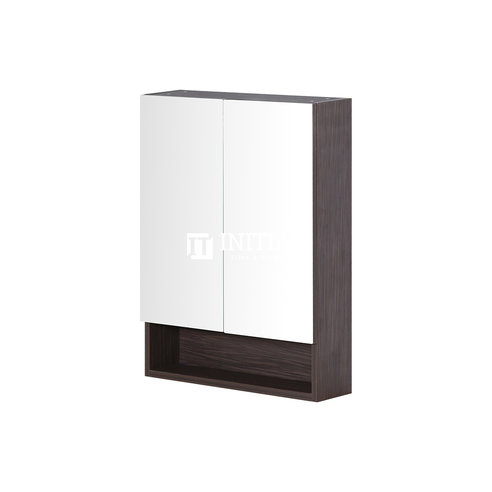 Style Wood Grain PVC Mirrors Shaving Cabinet With 2 Doors Walnut 600X150X750