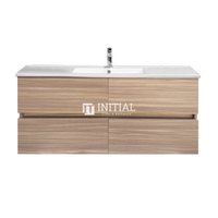 Style Wood Grain PVC Wall Hung Vanity With 2 Soft Closing Drawers Single Bowl Oak 1200X460X560