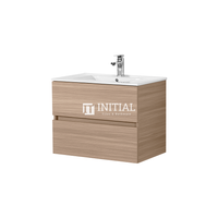 Style Wood Grain PVC Wall Hung Vanity With 2 Soft Closing Drawers Oak 740W X 560H X 455D