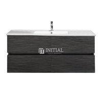 Style Wood Grain PVC Wall Hung Vanity With 2 Soft Closing Drawers Single Bowl Walnut 1190W X 560H X 455D