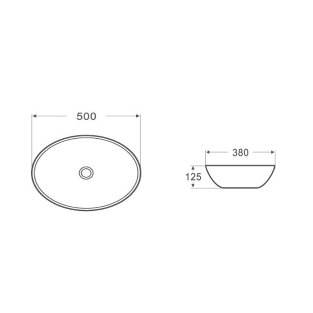 Gloss Oval Above Counter Basin White 500X380X125