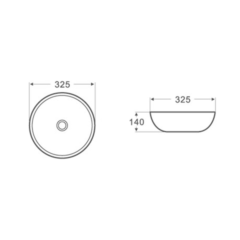 Gloss Round Above Counter Basin White 325X325X140
