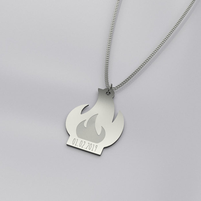 Silver Fire Pendant Necklace