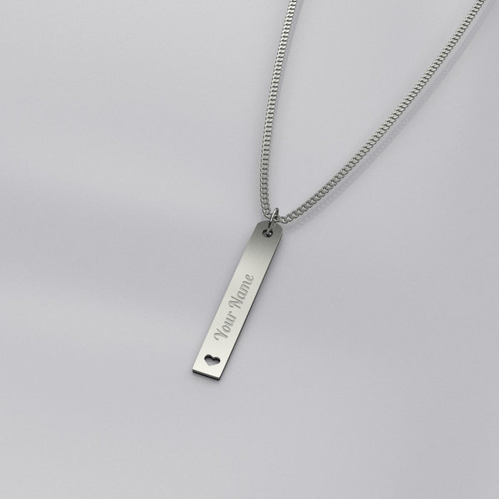 Silver Tag w/ Heart Pendant Necklace