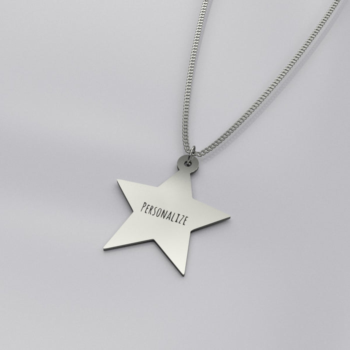 Custom Star Silver Pendant Necklace
