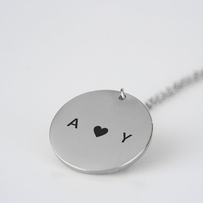 Pair Heart Initials Necklace
