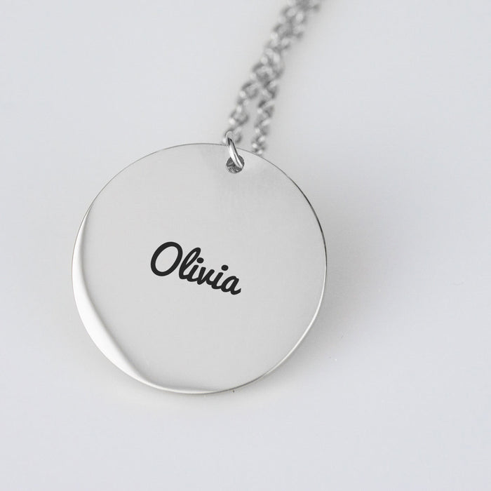 Custom Name Necklace Circle Pendant