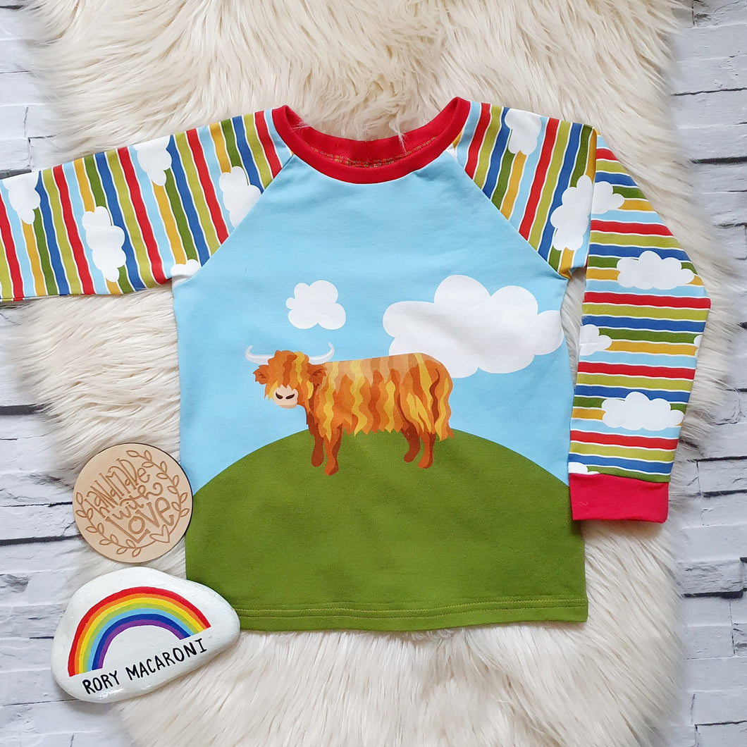 Highland cow raglan top