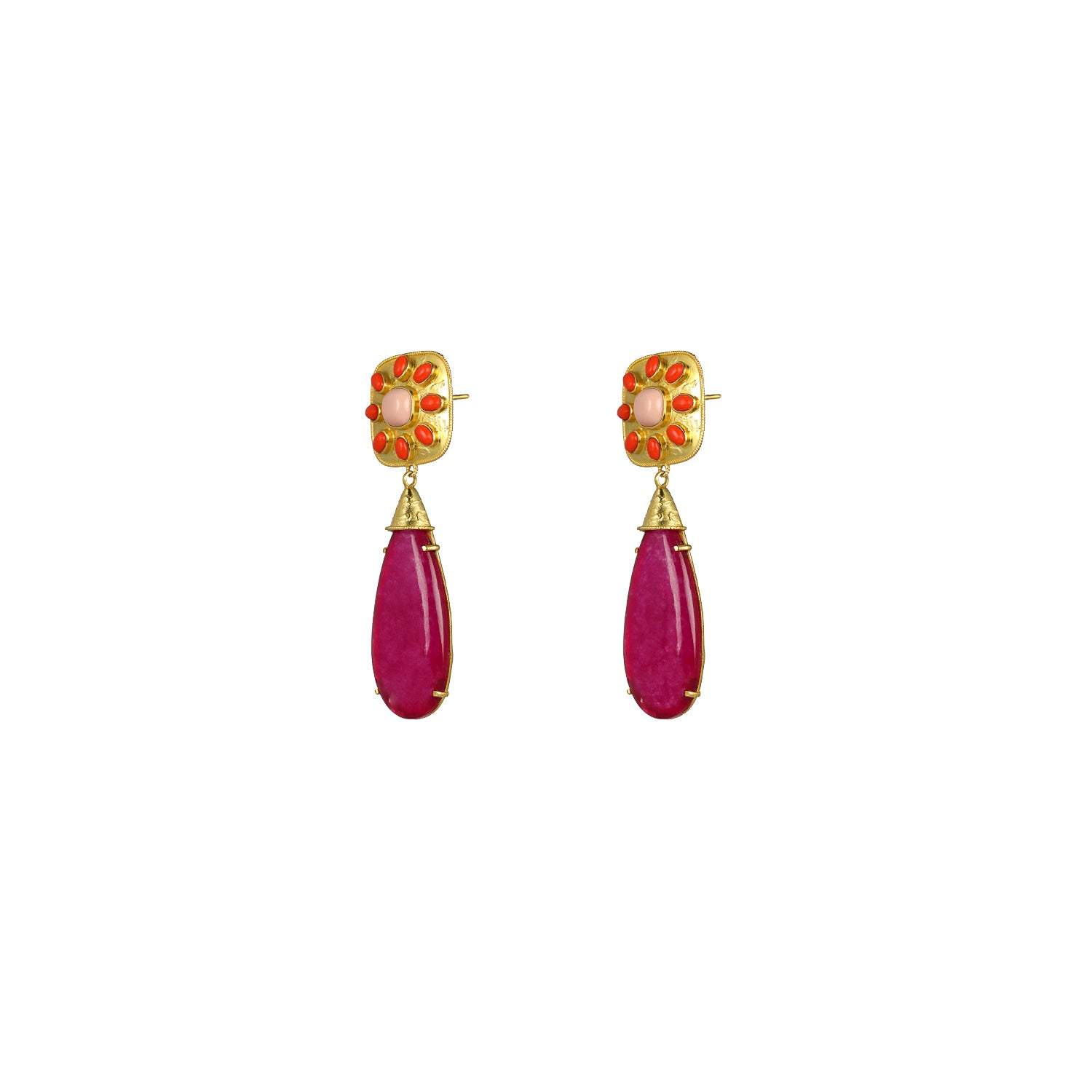 Tallulah Earrings Pink Jade, Coral & Pink Coral