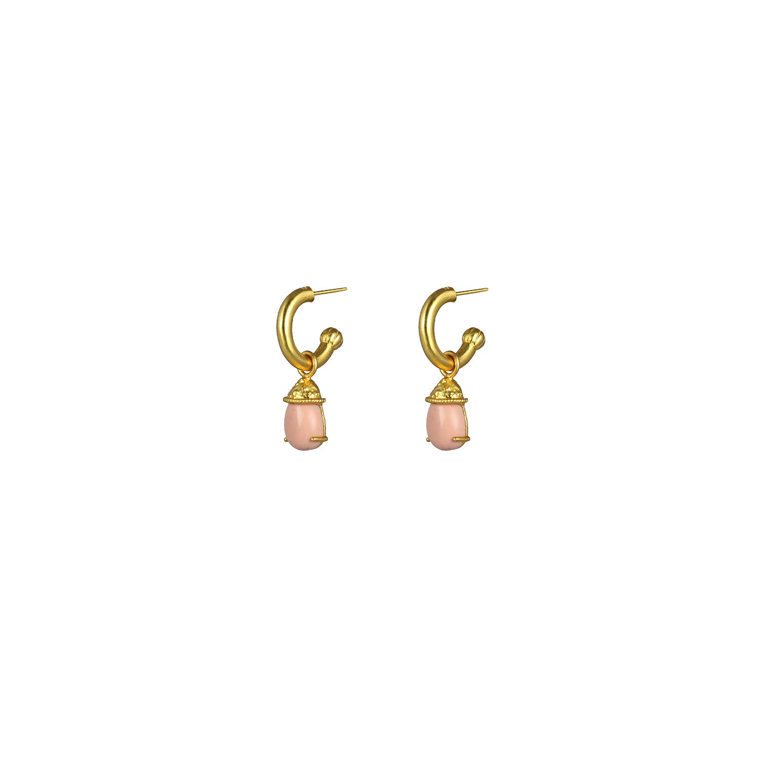 Jewel Earrings Pink Coral (2 in 1 with removable charm) PRE ORDER