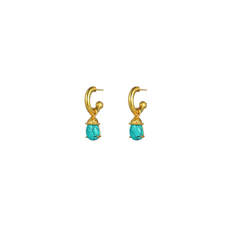 Jewel Earrings Turquoise (2 in 1 with removable charm)