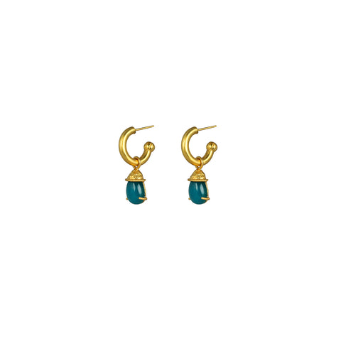 Jewel Earrings Aqua Jade (2 in 1 with removable charm)