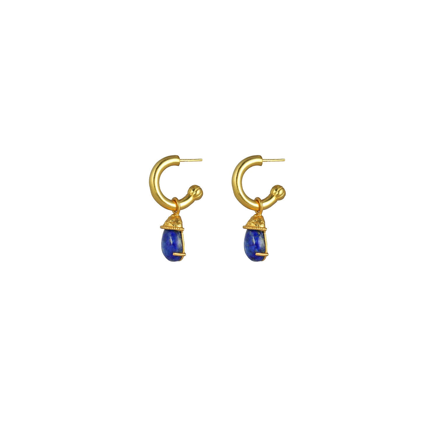 Jewel Earrings Lapis (2 in 1 with removable charm)