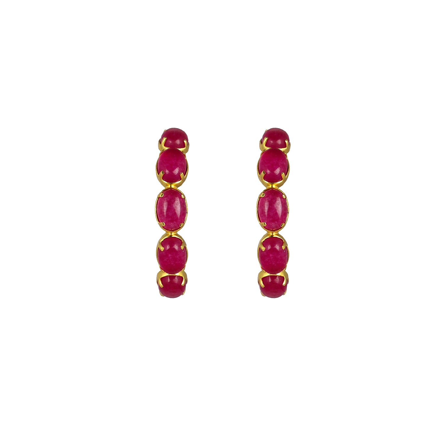 Como Earrings Pink Jade