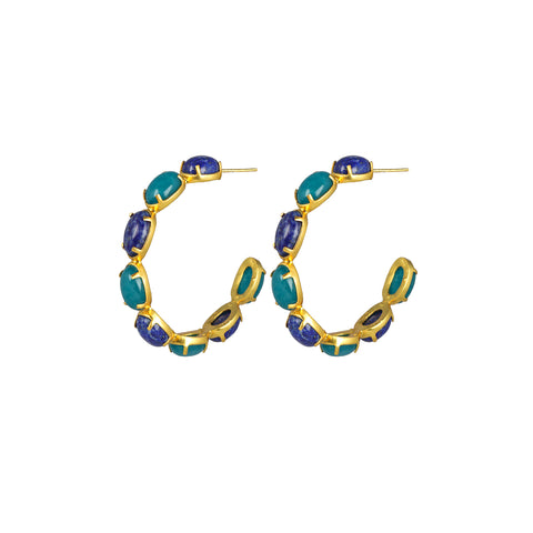Como Earrings Aqua Jade & Lapis
