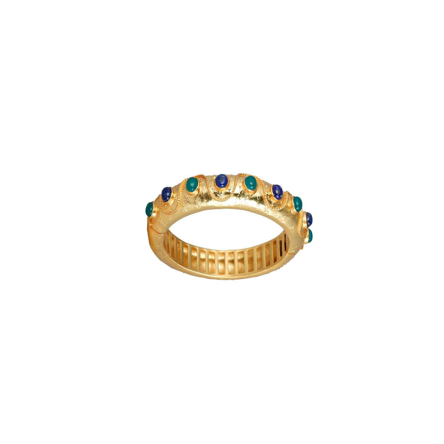 Cordelia Bangle Aqua Jade & Lapis